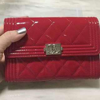 *NEW* 100% Authentic Chanel Patent Leather Red Short Wallet