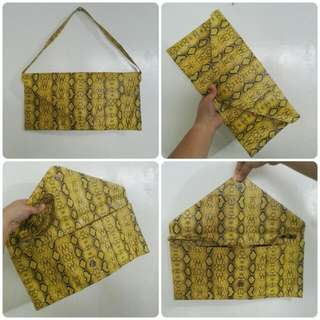Yellow Animal Print Pouch
