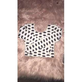 Black Lips Crop Top Fits S And xs