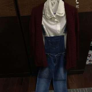 Catworld襯衫+吊帶褲+外套