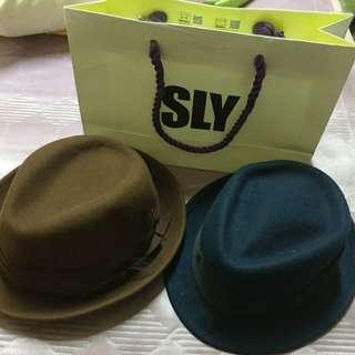 Ca4la 深咖啡色紳士帽  SLY深藍色紳士帽
