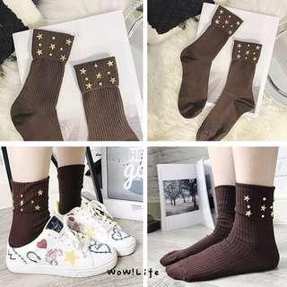 韓國純色手工裝飾甜美個性中筒襪