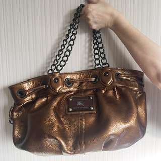 - PRE OWNED - Burberry Blue Label Bronze Chain Bag