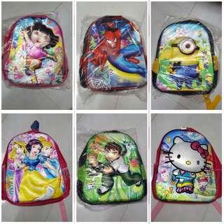 Backpack / Schoolbag / Back To School - Dora/ Disney Princess/ Hello Kitty/ Ben10/ Spiderman/ Minion - 3D Design/ Changing Background