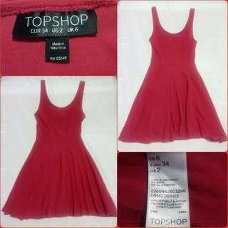Topshop Flippy Sleeveless Red Dress