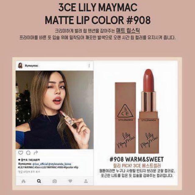 (預購)3CE x Lilymaymac 聯名款玫瑰金系列口紅