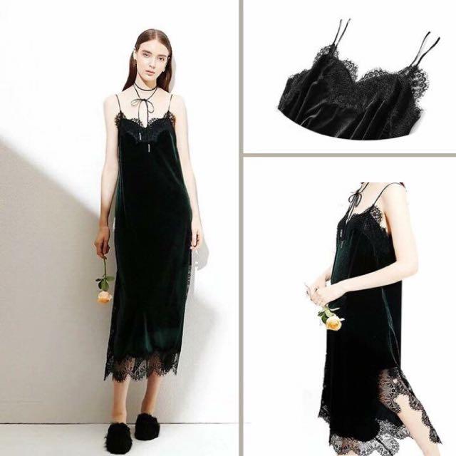黑色細肩帶蕾絲背心裙