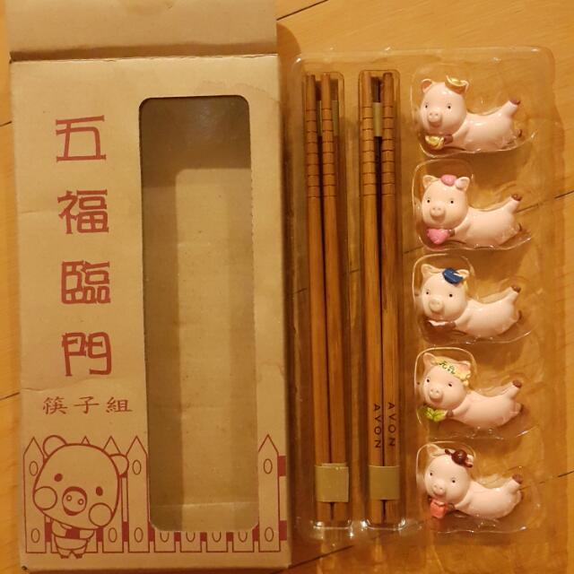 五福臨門筷架組