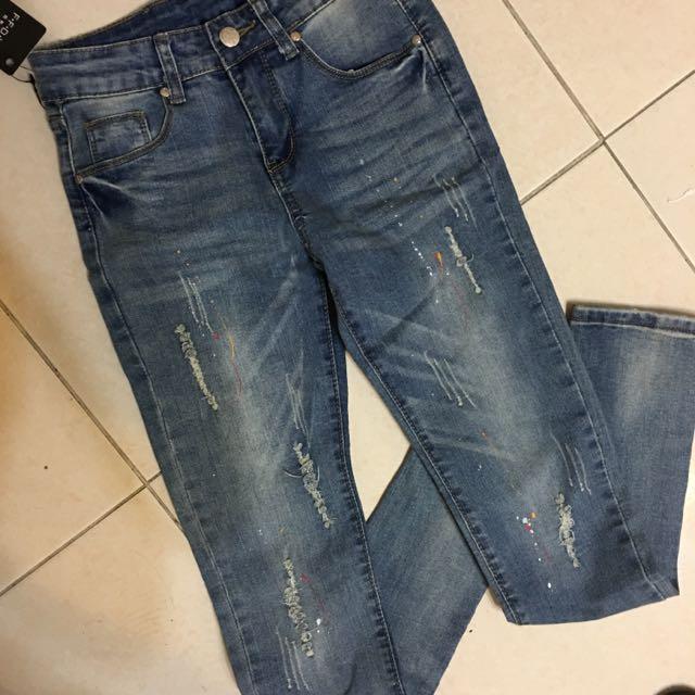 含運 全新s號潑漆窄管褲 牛仔褲 彈性好