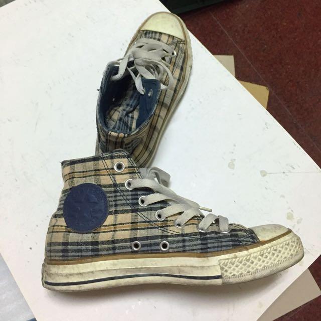 All Star 格紋高筒布鞋.運動鞋休閒鞋都適用.質感好看好搭 非new Balance.Skechers.nike
