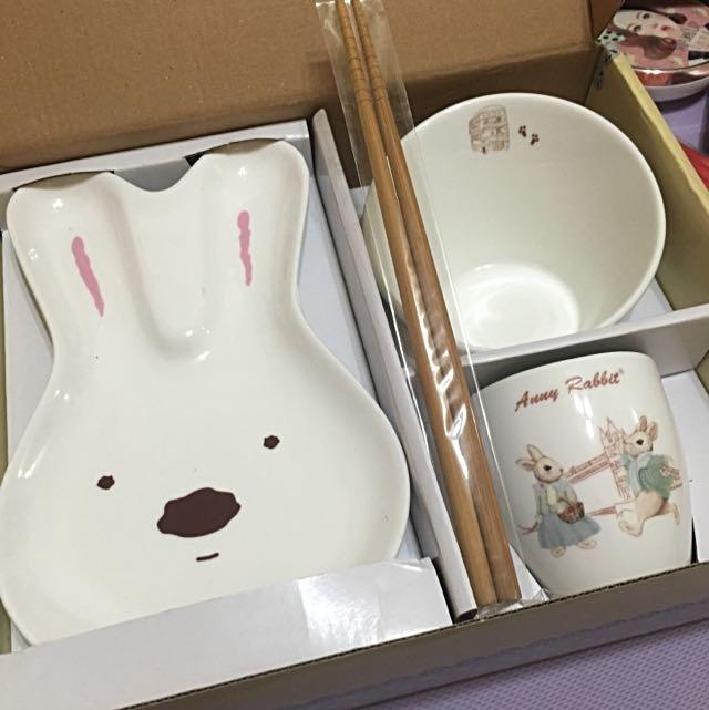 Anny Rabbit 安妮兔 單身貴族個人餐盤組 陶瓷盤組