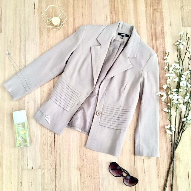 Asos Fitted Cropped Sleeve Blazer