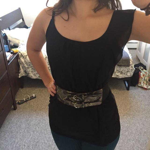 Asymmetrical Black Ruffle Shirt