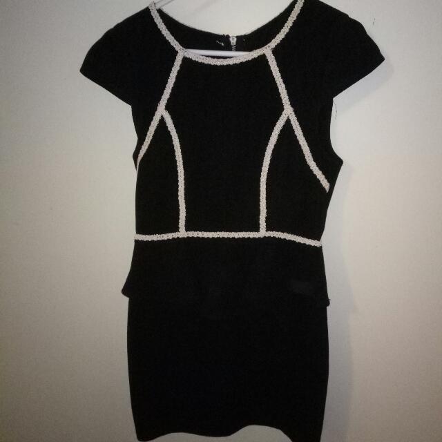 Black Peplum Dress With White Detail