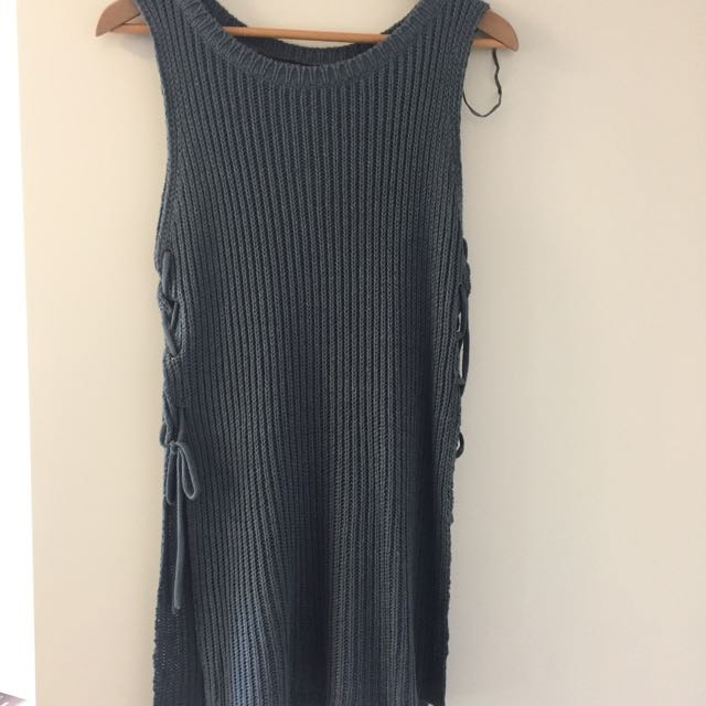BLUE MENDOCINO KNIT TANK WITH TIES ON SIDE