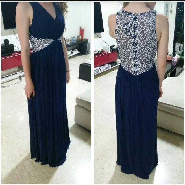 Blue With White Embroidery Ball Dress