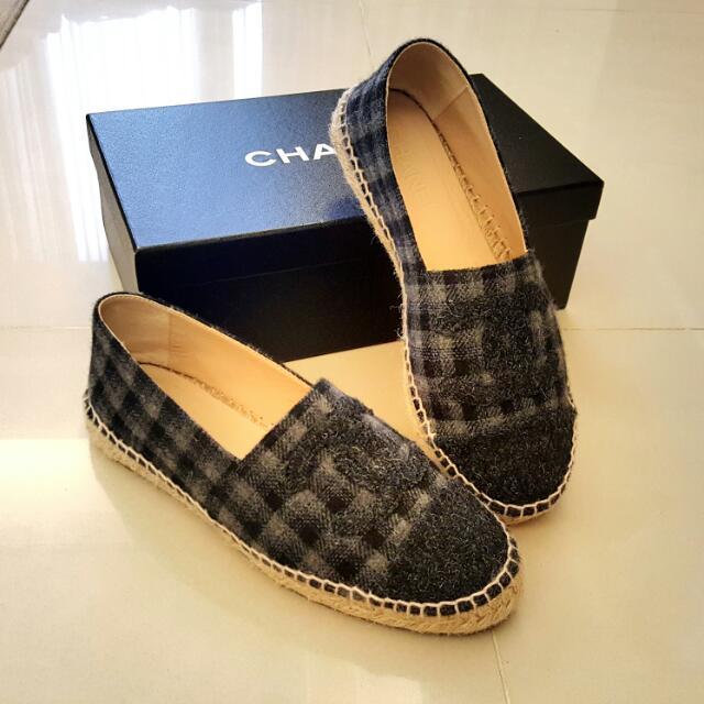 CHANEL經典Espadrilles鉛筆鞋(小香Logo絲絨格紋厚底 灰37-38)