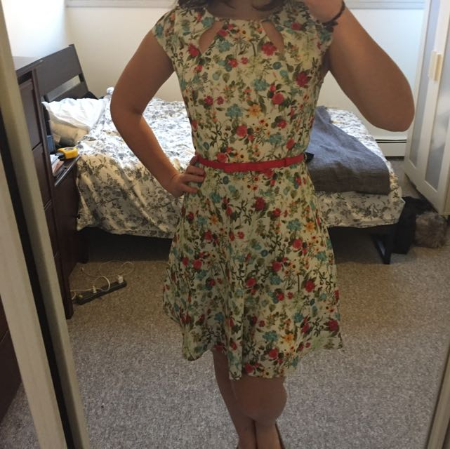 Floral Cream Peekaboo Dress And Red Bow Belt