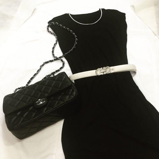 High End Black Slit Dress