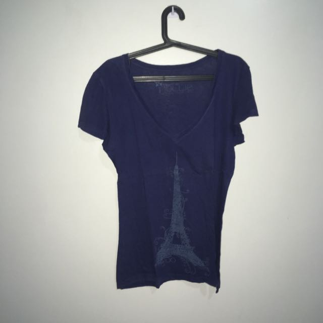 Hollie Eiffel V-Neck Tee (Blue)