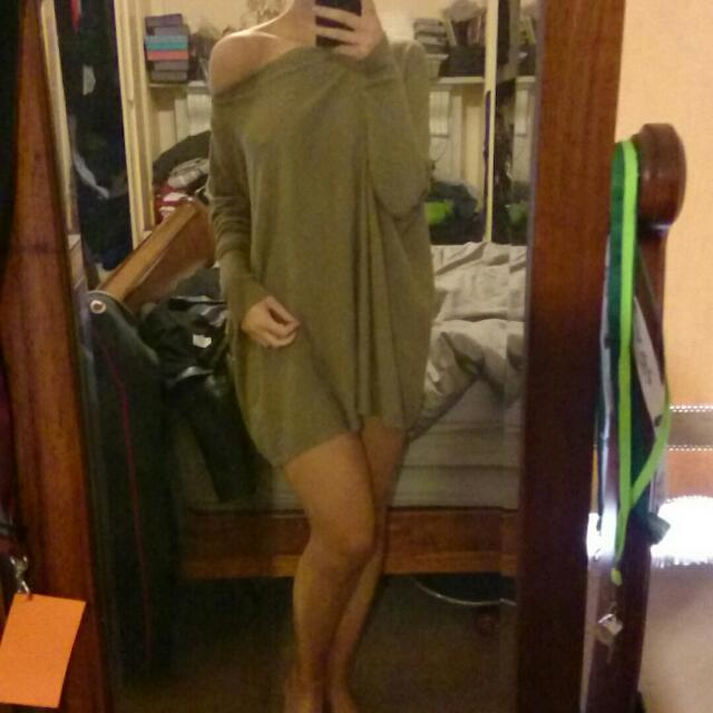 Khaki Long Jumper Dress