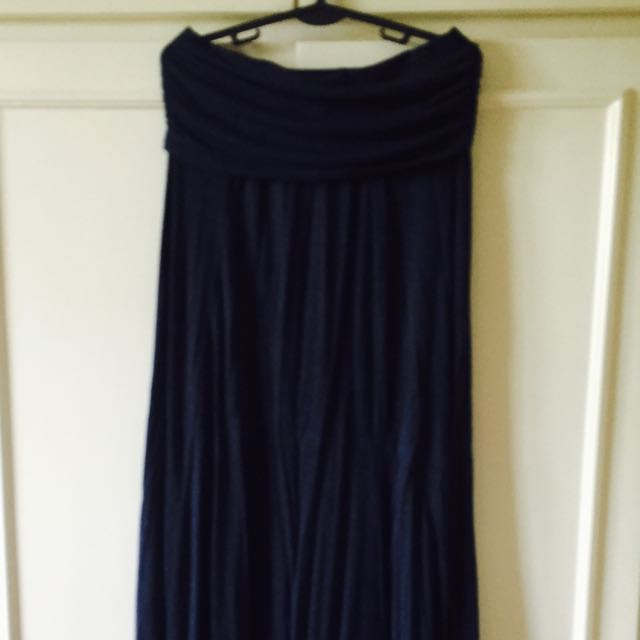 Max Studio Navy Blue Long Skirt