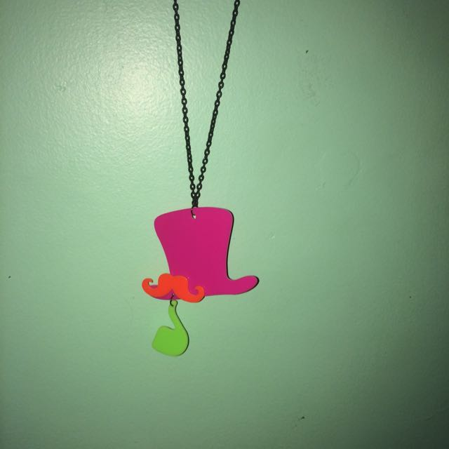 Moustache and Tophat necklace