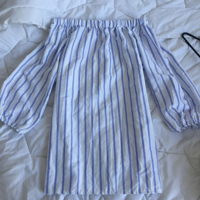 Off Shoulder Dress ( Light Blue With A Little Bit Of Purple And White Stripes )