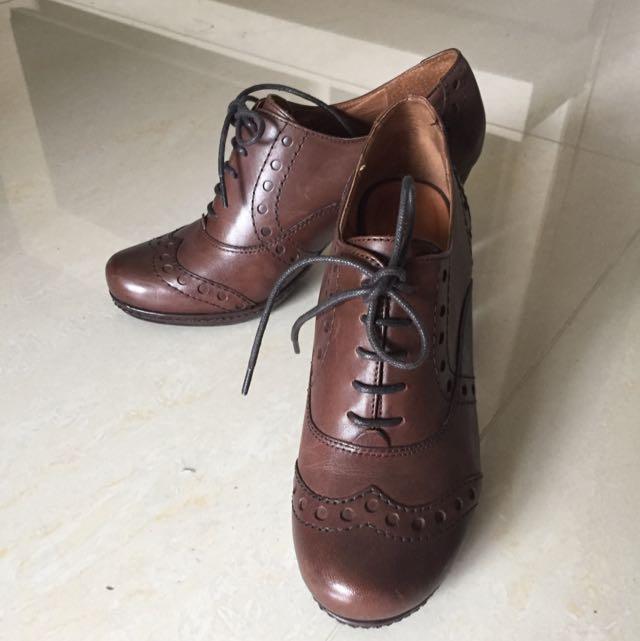 ORIN 咖啡色皮質高跟牛津鞋