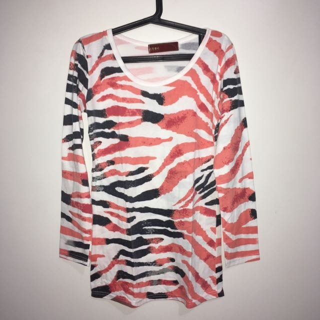 Red Jeans Print Long Sleeves (White)
