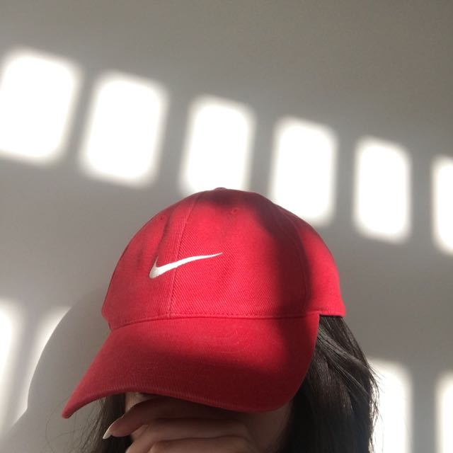 red Nike dad cap