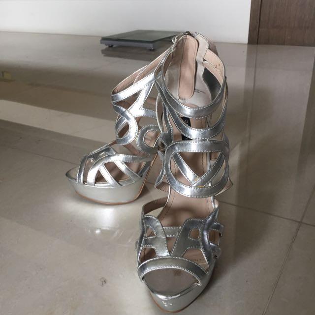 美國Shoemint 銀色高跟鞋