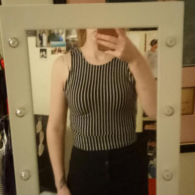 Striped Crop Top With Cut Out Back
