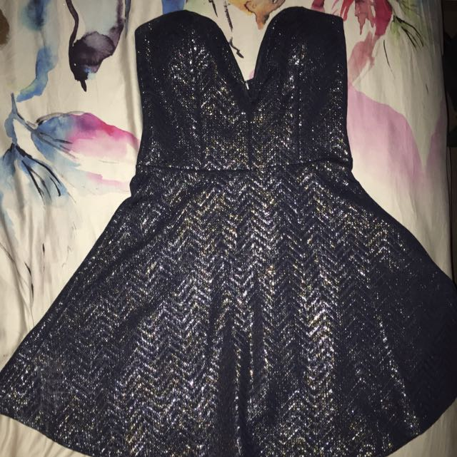 Sweetheart Gold/navy Dress