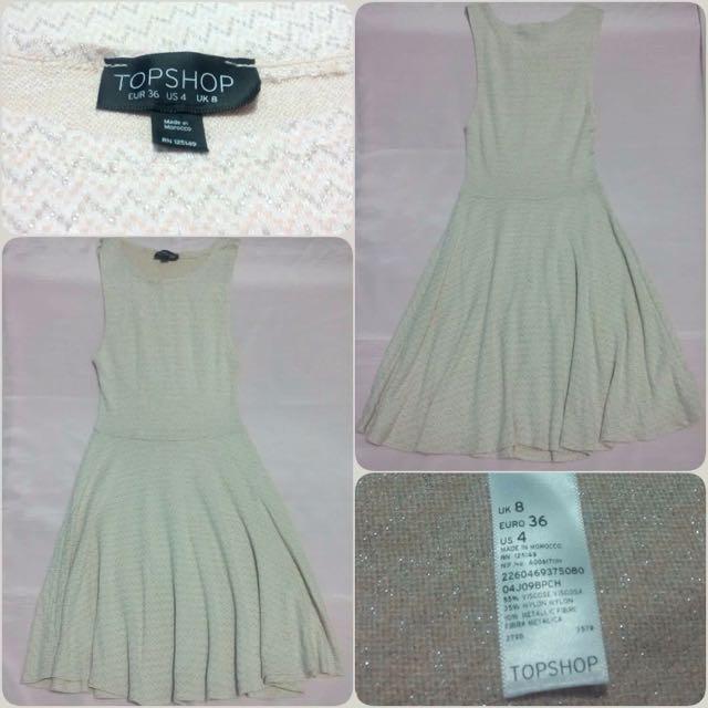 Topshop Flippy Cream Glittery Dress