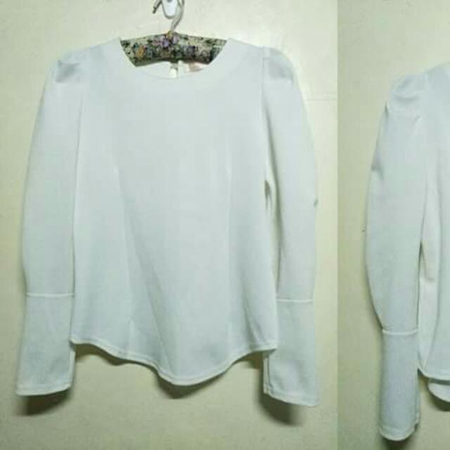 White Korean Long Sleeved Blouse
