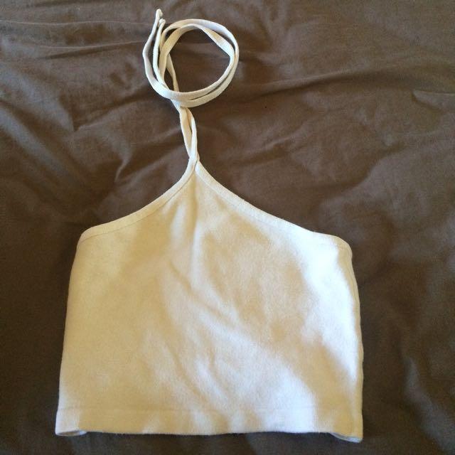 White Neck Strap Crop Top