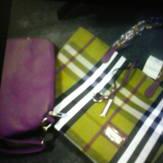 X2 Burberry Fake Red Side Bag N Striped Bag Selliing Together