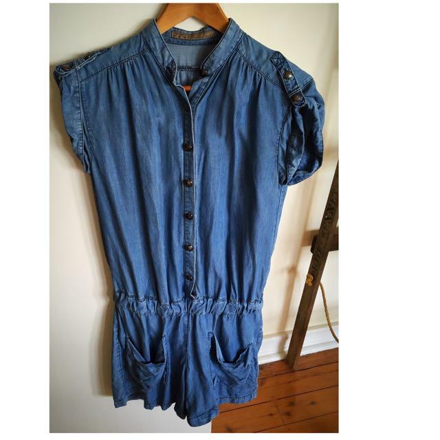 ZARA Basic chambray jumpsuit