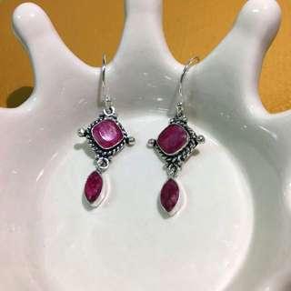 全新 925純銀 古典 紅寶石 垂吊式耳環