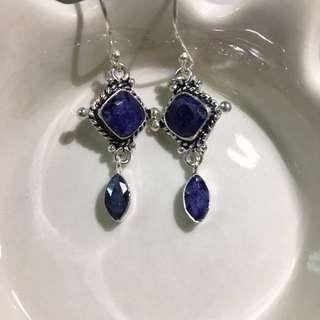 全新 925純銀 古典 藍寶石 垂吊式耳環