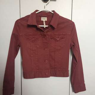 "Wilfred Free Aritzia Red/pink ""denim"" Jacket Size 2"