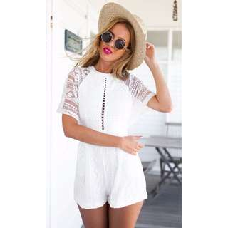 NEW with Tags White Lace Crochet Playsuit Jumpsuit Romper 10 8 race summer Blogs
