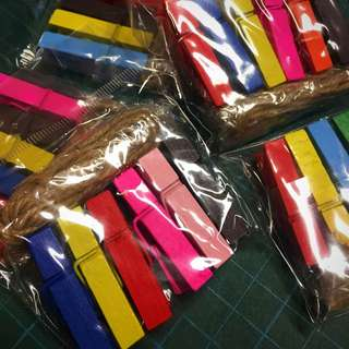 Wooden Colourful Pegs With Twine