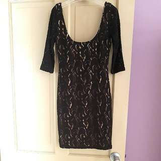 ABYSS Nude/Black Lace Dress XS