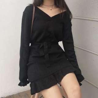 全新 V領針織毛衣連衣裙