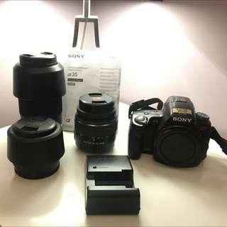 NEW PRICE- Sony a35 + 3 lenses