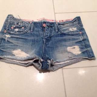Vintage Ripped Shorts With Show Up Pocket
