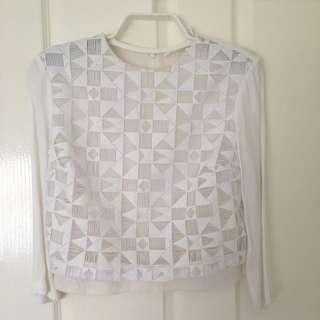NEW A.L.C white silk top