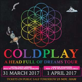 COLDPLAY CONCERT SINGAPORE TICKET 1 APRIL 2017